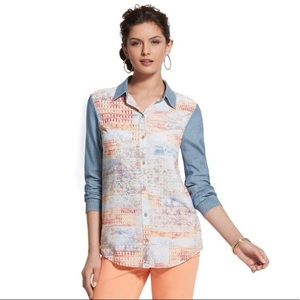 Chico's Size 1 Artisan Dreams Cleo Button Down Top
